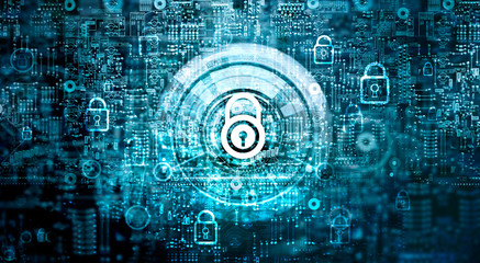 Global network security concept. Cyber Safety. Key. Closed padlock on abstract motherboard circuit digital background. Internet technology