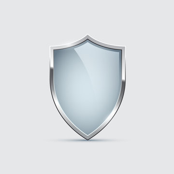 Glass shield with silver frame isolated on gray background. Vector design element.