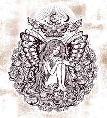 Moth girl butterfly with long hair unique mandala.