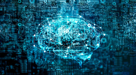 Artificial Intelligence digital Brain future technology on motherboard computer. Binary data. Brain of AI. Futuristic Innovative technology in science concept