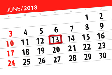 Calendar planner for the month, deadline day of the week, wednesday, 2018 june 13