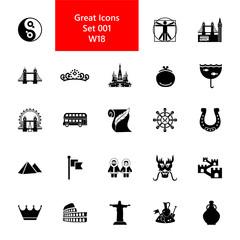 European and Asian culture symbols. Famous places icon set