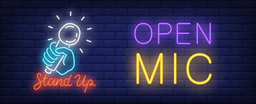 Open mic for standup neon sign