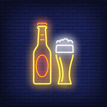 Beer bottle and glass on brick background. Neon style vector