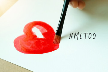 Watercolor red heart and paintbrush with MeToo hashtag on white background.  #metoo as a new movement. As part of anti sexual harassment.
