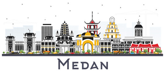 Medan Indonesia City Skyline with Color Buildings Isolated on White.