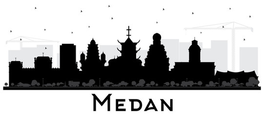 Medan Indonesia City Skyline Silhouette with Black Buildings Isolated on White.