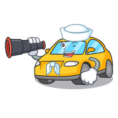 Sailor with binocular taxi character mascot style