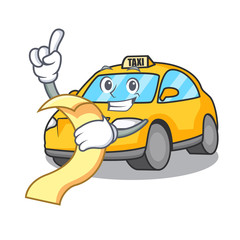 With menu taxi character mascot style