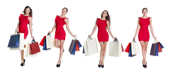 Shopping. Fashion young woman portrait isolated. Happy girl hold shopping bags.