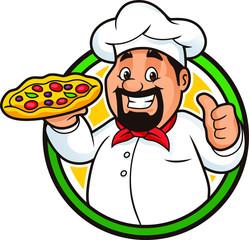 Pizza Chef Mascot Design Vector