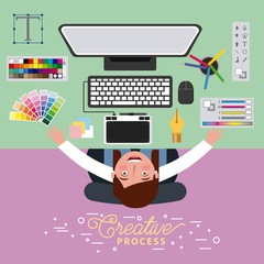woman graphic designer working creative process on computer vector illustration