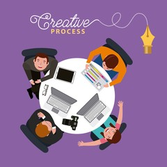 creative process people working around table with laptops top view vector illustration