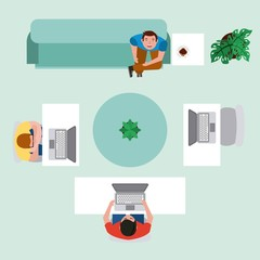 top view men in workspace with computer and sitting sofa drink coffee vector illustration