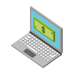 laptop online payment banknote money isometric vector illustration