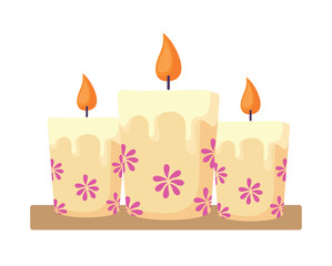 Candles with floral design over white background, vector illustration