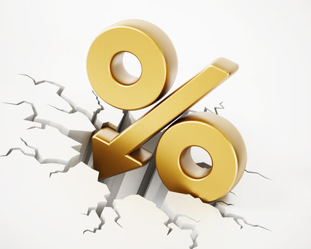 Percentage symbol with arrow on cracked ground. 3D illustration