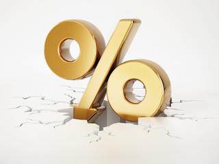 Percentage symbol with arrow on cracked ground. 3D illustration