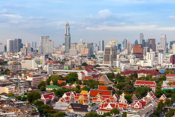 Bangkok skyline Landscape temple, Bangkok city Thailand
