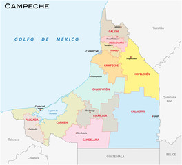 campeche, administrative and political vector map, mexico