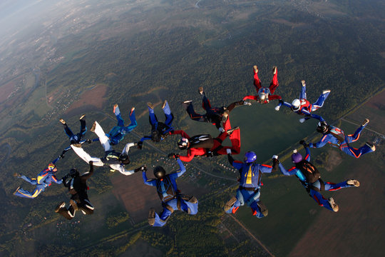 Skydiving. Formation jump.
