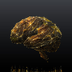 Human Brain. Low poly wireframe illustration of brain in gold style. Polygonal vector image in RGB color. Best idea concept.