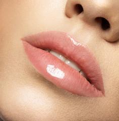 Close up macro photo with beautiful female lips