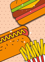 hot dog sandwich and french fries menu restaurant vector illustration