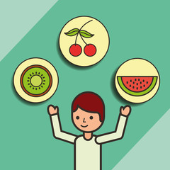 boy cartoon with fruits cherry kiwi strawberry vector illustration