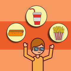 boy cartoon with fast food hotdog soda french fries vector illustration