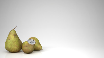 Fresh pear juice in pear can and pears, over white background with copy space, natural drink concept idea