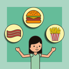 girl cartoon and food burger french fries and bacon vector illustration