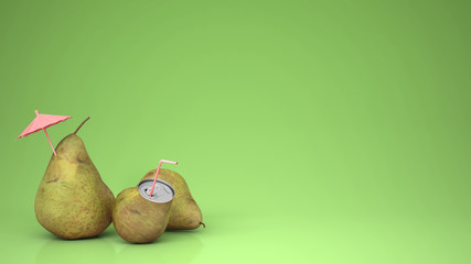 Fresh pear juice in pear can and pears, little umbrella and drinking straw, over green background with copy space, natural drink concept idea