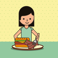 girl cartoon eating sandwich bacon on dish vector illustration