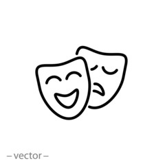 theatrical masks icon linear sign vector illustration eps10