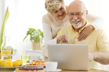 Smiling senior man using laptop with happy wife. Elderly people searching Internet