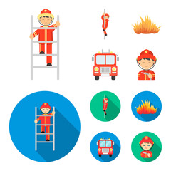 Fireman, flame, fire truck. Fire departmentset set collection icons in cartoon,flat style vector symbol stock illustration web.
