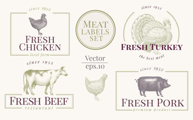 Labels with farm animals. Set templates logotype for shops and markets of organic food. Vector logo templates. Vintage. Hand drawn animals illustrations