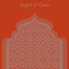 Laylat al-Qadr. Islamic religion holiday. Symbolic silhouette of the mosque. Red shades of color. Paper style