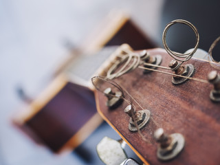Guitar string music instrument close up