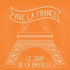 Bastille Day. French National Holiday. The lower part of the Eiffel Tower in scale. Grunge background. Orange and white