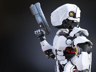 3D rendering of a futuristic robot cop holding gun.