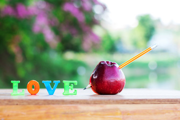 Pencil shot through red apple for love.