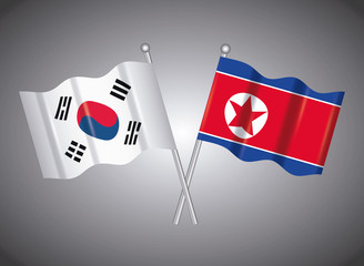 north korea and south korea flags over gray background, colorful design. vector illustration