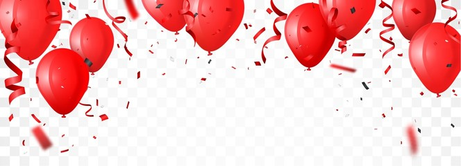 celebration banner with red balloon and confetti
