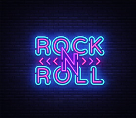 Rock and Roll logo in neon style. Rock Music neon night signboard, design template vector illustration for Rock Festival, Concert, Live music, Light banner. Vector illustration