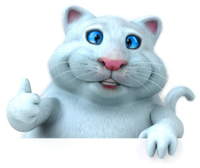 Fun white cat - 3D Illustration