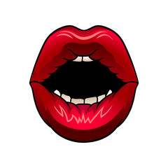 Wide open woman s mouth. Bright red female lips. Flat vector design for mobile app, postcard or beauty salon