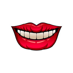Glossy red female lips. Woman s mouth with perfect white smile. Flat vector element for promo poster or flyer of dental clinic