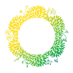 Round Floral Frame with Leaves for a Greeting Card, vector illustration